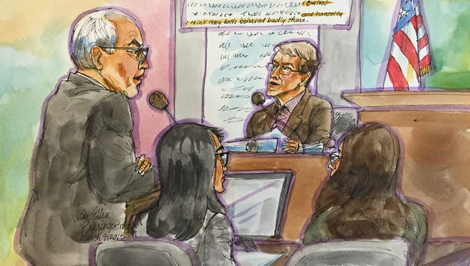 John Doerr on the stand March 4, 2015, in San Francisco Superior court in the gender discrimination trial of Ellen Pao versus venture capital firm Kleiner Perkins. Ellen Pao is in the foreground, with black hair.