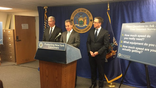 NYS Attorney General Eric Schneiderman speaking in Rochester on February 16, 2017.