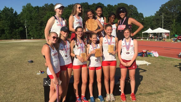 The Carolina Day girls track team won the NCISAA 1-A/2-A