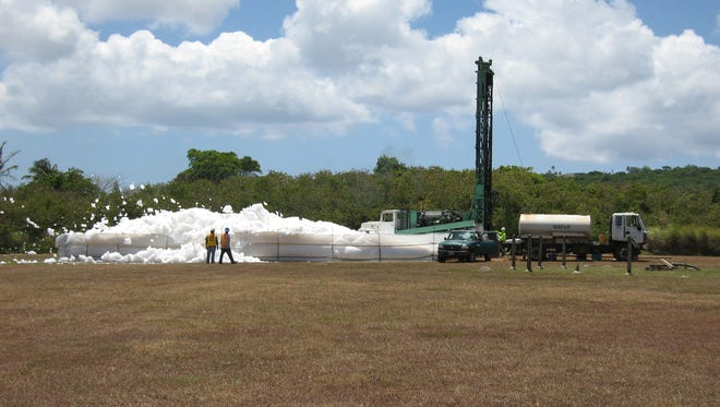 Drilling of Exploratory Well AECOM-11 in 2010, on the flank of the Barrigada Rise as part of the Guam Water Well Testing Study to support U.S. Marine Corps Relocation to Guam, by Naval Facilities Engineering Command Pacific.
