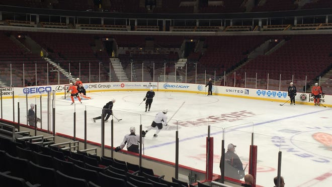 The Flyers practiced Monday at the United Center in Chicago.