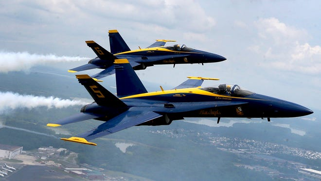 Blue Angels Lt. Ryan Chamberlain and Captain Jeff Kuss fly manovers over the Smyrna airport, on Thursday, June 2, 2016, in preparation for the Great Tennessee Airshow, this weekend. Minutes after this was taken Captain Jeff Kuss' plane crashed killing the pilot.