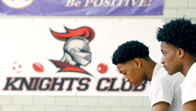 Northstar Christian Academy basketball twins brothers Miles and Michael Brown during practice.