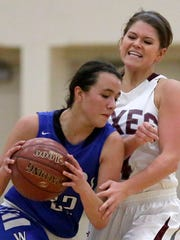 Whitney Henn of Fox Valley Lutheran defends against
