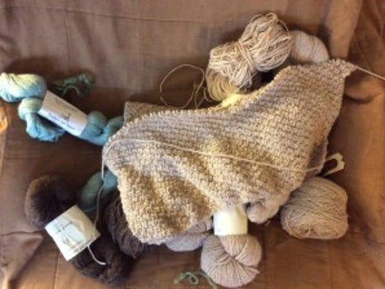 The Shirley Sweater is barely started, but I have all the yarn safely stashed in a tote. The light beige and dark brown are alpaca from Woods Edge, and the light green, if I decide to use it, is from another Hunterdon County farm, Pronks. Not sure if Pronks still exists, tho.