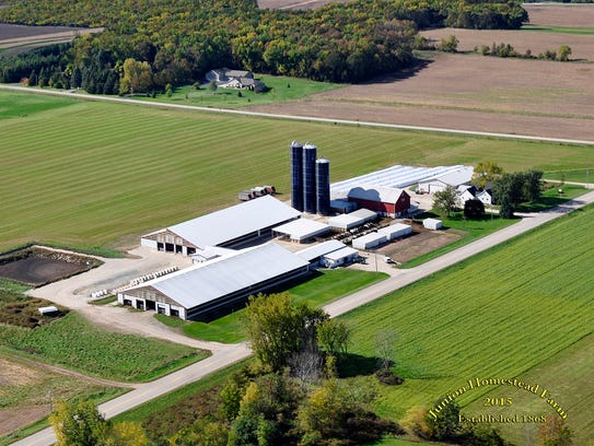 An aerial view of Junion Homestead Farm in Casco, host