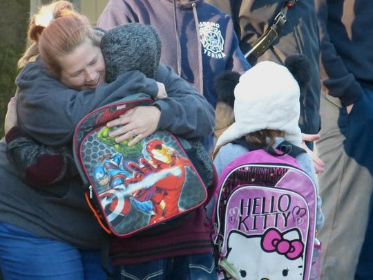 Tears, smiles and hugs were in abundance Monday at Rancho Tehama Elementary School.