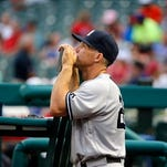 New York Yankees starting pitcher Ivan Nova (47) blows on his fingers in the sixth inning of a baseball game Houston Astros in New York, Wednesday, April 6, 2016.