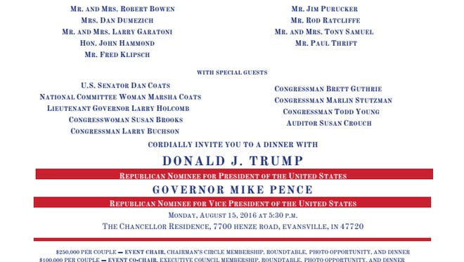 Screenshot of invitation to dinner with Donald J. Trump.