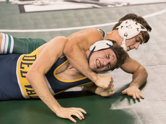 Delaware Valley's AJ DeRosa suffers a tough defeat to top seeded Patrick Glory from Delbarton. Opening round of NJSIAA State Wrestling Tournament in Atlantic City, NJ on Friday afternoon March 2, 2018.