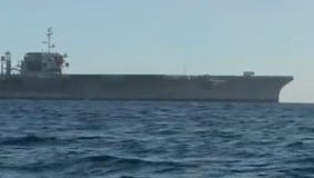The decommissioned aircraft carrier Constellation off Seal Beach, Calif.