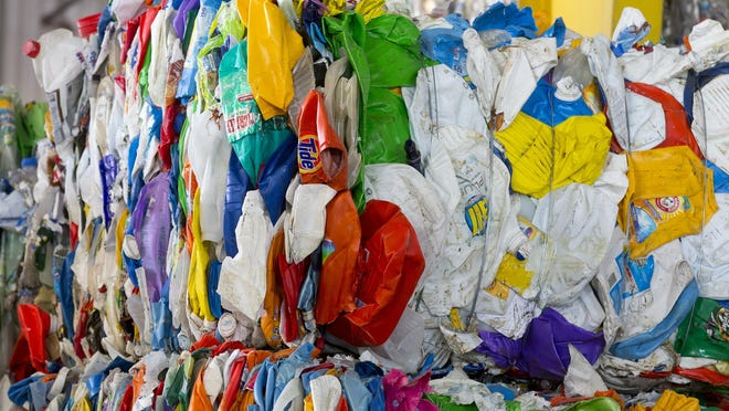 A bundle of recyclable plastics at United Fibers in Chandler on July 30, 2015.