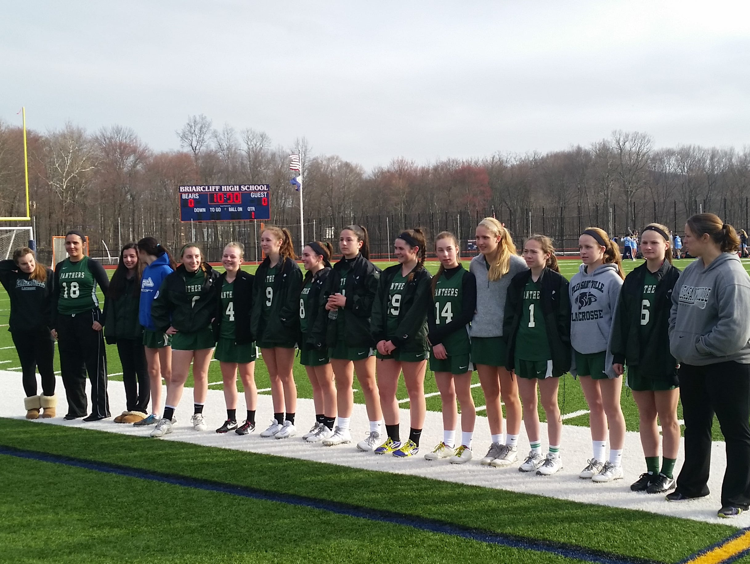 Pleasantville's girls lacrosse team waits to hear the all-tournament team selections after the team's win over Valhalla in the Mount Pleasant Cup consolation game at Briarcliff High School on Thursday, March 24th, 2016.
