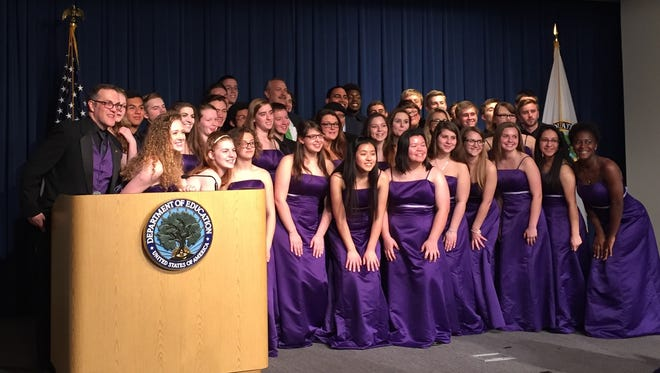 Waynesboro High School Concert Choir at the U.S. Department of Education on March 17, 2016. Photographed with the choir is U.S. Secretary of Education John King, Jr.