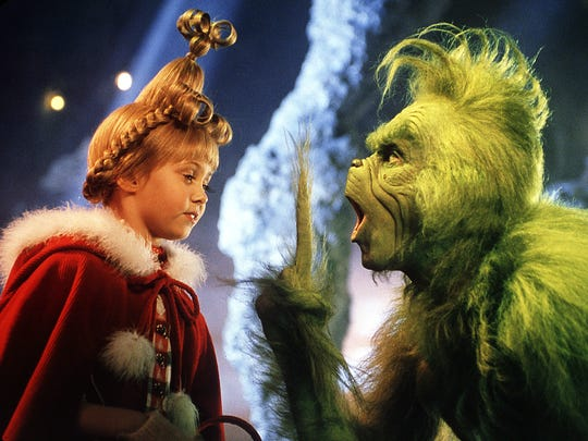 The Grinch  (Jim Carrey) and Cindy Lou Who (Taylor Momsen) in 'How The Grinch Stole Christmas.'