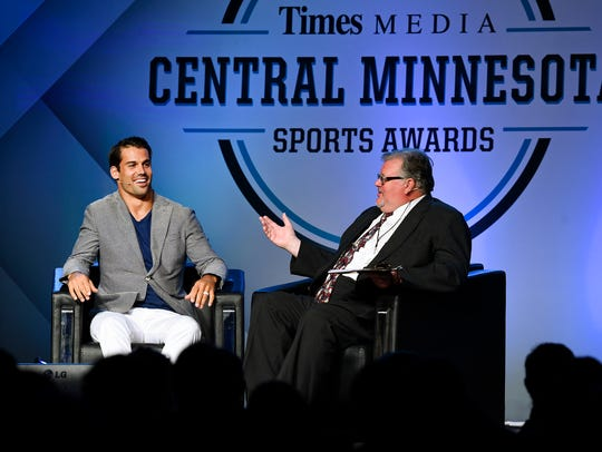 Wide receiver Eric Decker chats with Times sports reporter Tom Elliot during the 2015 Central Minnesota Sports Awards at River's Edge Convention Center.