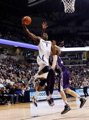 Xavier forward Jalen Reynolds shoots during the second half against the Stephen F. Austin Lumberjacks at Cintas Center.