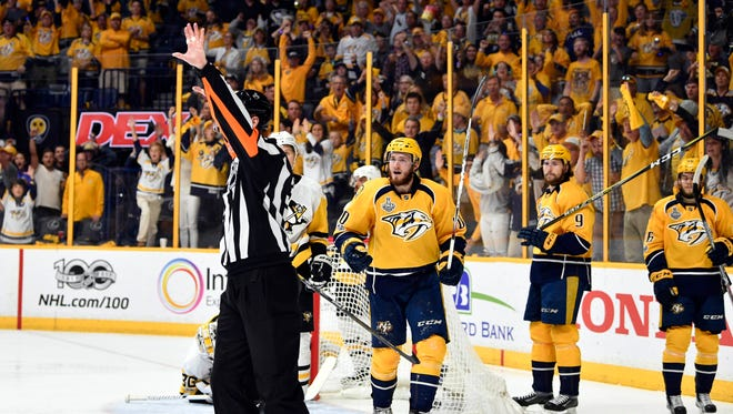 Nashville Predators center Colton Sissons (10) reacts as the officials rule that a goal was disallowed due to an early whistle.
