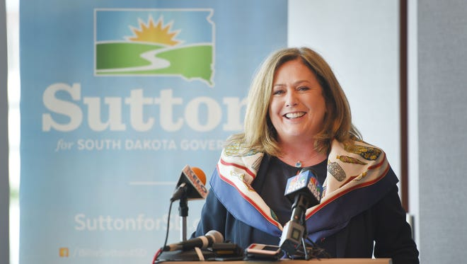 Billie Sutton names former Republican Michelle Lavallee as running mate Thursday, June 14, at Cherapa Place in Sioux Falls.