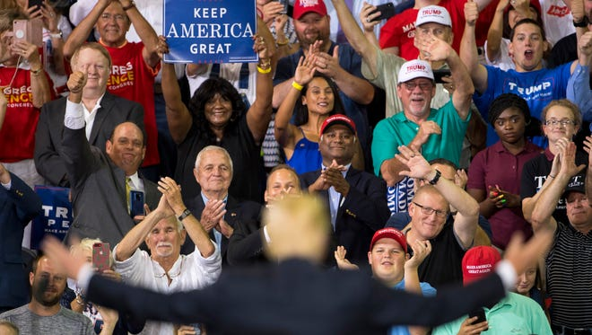 President Donald Trump at a rally on Aug. 30, 2018, in Evansville, Indiana.
