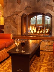 Before and after dinner, guests can relax in the Fireside Lounge at the Oregon Garden Resort.