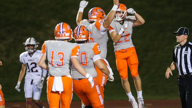 The Central Bobcats celebrate a touchdown in their 52-28 win over Midland Lee on Friday, Oct. 13, 2017, at San Angelo Stadium.