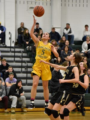 Pascack Valley junior Brianna Wong scored a game-high 14 points with a pair of triples as the Indians defeated River Dell in girls basketball second round action of the Joe Poli Holiday Tournament on Wednesday, Dec. 28, 2016 at Pascack Valley High School.