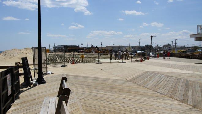 Seaside Park,  NJ     Construction workers rebuild a portion of the boardwalk in Seaside Park.  052014 Mike DeSocio