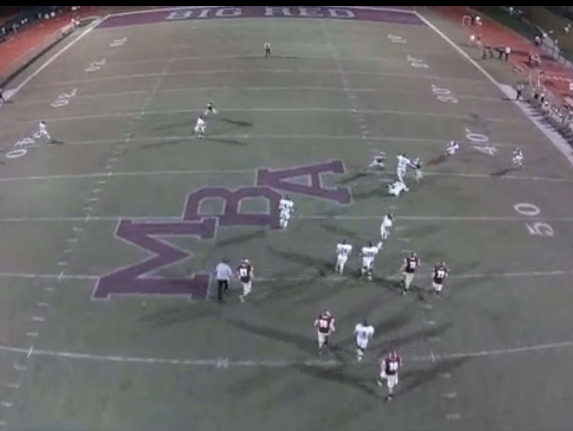 A still from video taken by a drone shows a play during the Ensworth-MBA game in October 2014.