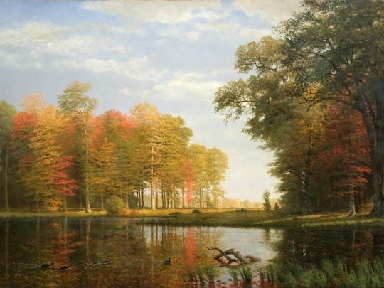 Albert Bierstadt (1830-1902). Autumn Woods, 1886. Oil on linen, 54 x 84 in. Collection of the New-York Historical Society, Gift of Mrs. Albert Bierstadt. 1910.11