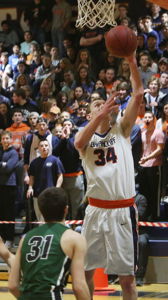 Briarcliff's Jackson Gonseth (34) puts up a shot against
