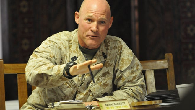 Marine Sgt. Maj. Mike  Barrett, the present senior enlisted adviser in the Marine Corps, in Afghanistan in 2011.