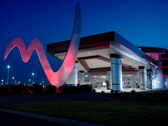 The Miami Valley Gaming building glows in the night