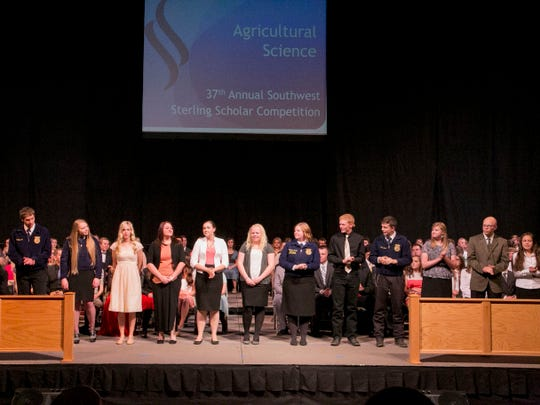 Candidates of the Agriculture Science area for the Southwest Region Sterling Scholars, anxiously waiting the announcement of the winners. On the Southern Utah University campus, April 9, 2015.