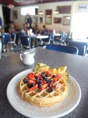 Bluebird Diner's Belgian waffle on.