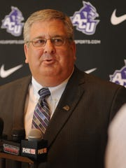 Allen Ward talks to the local media after being introduced as ACU's athletic director on Monday at the Hunter Welcome Center. Ward, who officially begins working at ACU on Aug. 6, had been the athletic director at Murray State for 13 years.