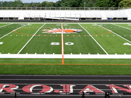 Friday, Aug. 4, 2017--A new track and artificial turf field surface have been completed at York Suburban stadium. York Suburban residents will have to register with the district and purchase a $5 badge to gain access to the new facility. Bill Kalina photo