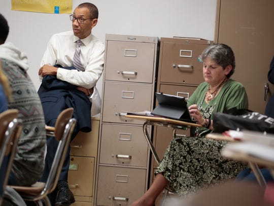 Dennis Walcott, East Ramapo school district monitor, along Ramapo High School's principal Sherrill Murray-Lazarus, monitor a class on the school on Sept. 30, 2015.
