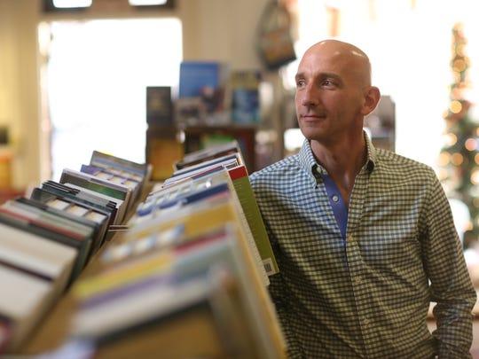 Derek Tucker visits the Winchester Book Gallery in Winchester, Va.