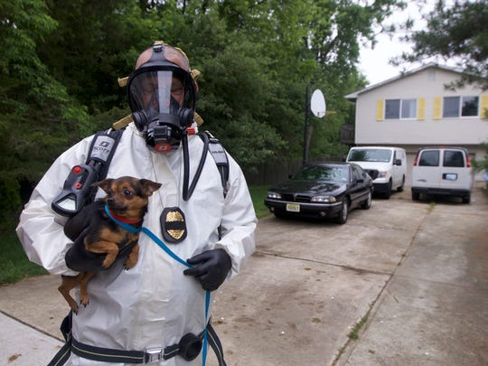 Authorities wore face masks and air tanks while rescuing dogs from the home.