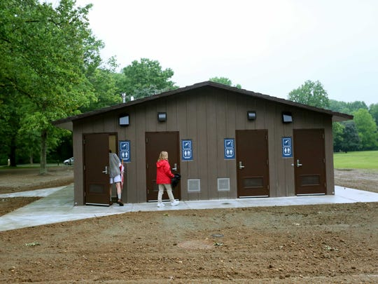 Guest to Lums Pond State Park Campground got a chance to check out the new bathhouse in the park.