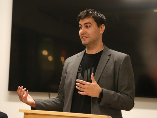 Robert Herrera, co-founder of The Mill, speaks at a press conference in August.