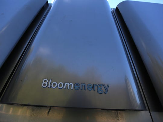 Bloom Energy Fuel cell boxes on JP Morgan's campus in Stanton.
