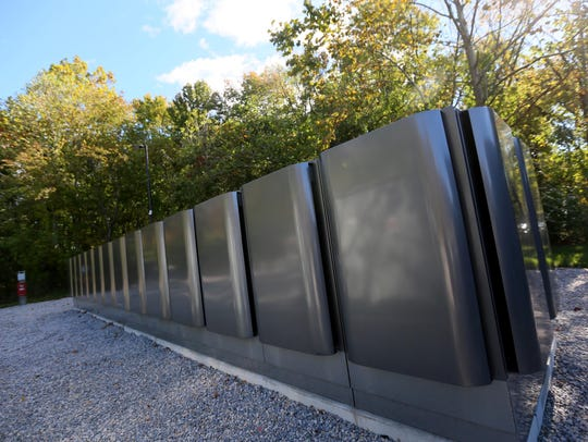 Bloom Energy Fuel cell boxes on JPMorgan's campus in