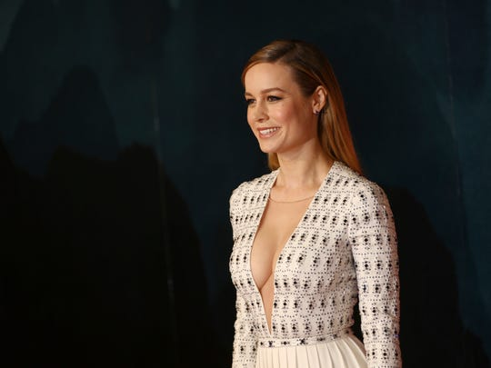 Brie Larson poses at the European premiere of 'Kong: