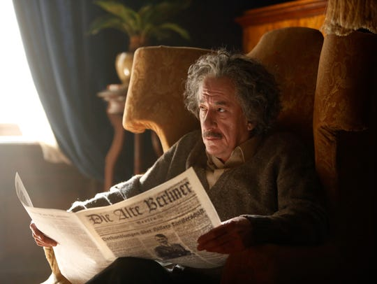 Einstein (Geoffrey Rush) dealt with anti-Semitism as