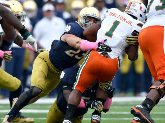 Drue Tranquill (23) will have a little more freedom in Notre Dame's new rover position.
