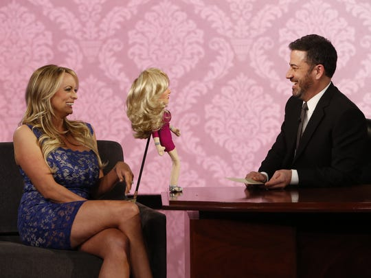 Stormy Daniels uses a puppet to play Never Have I Ever with Jimmy Kimmel.