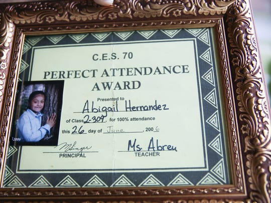 Abigail Hernandez was given the perfect attendance award by her teacher in 2006.