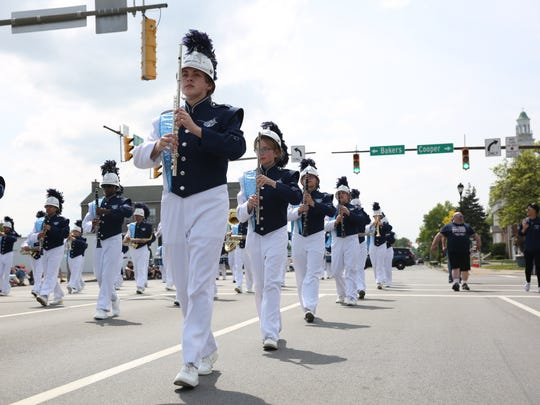 The Eastridge Lancer Marching Band performs during